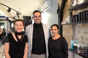 Rahim with Ines and Sarah, the salon owner and head stylist.